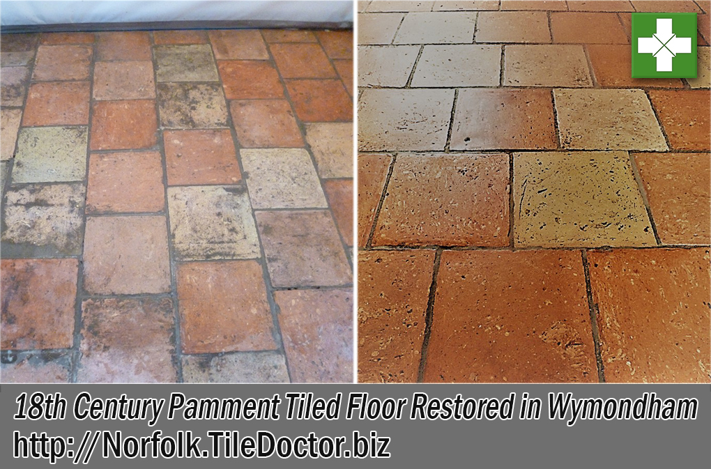 Pamment Tiled Floor Before and After Restoration Wymondham