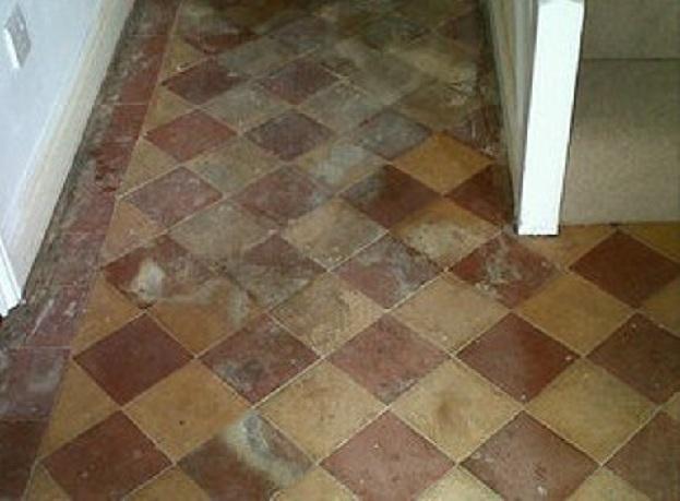 Victorian Hallway Floor Tiles Before Cleaning Norwich