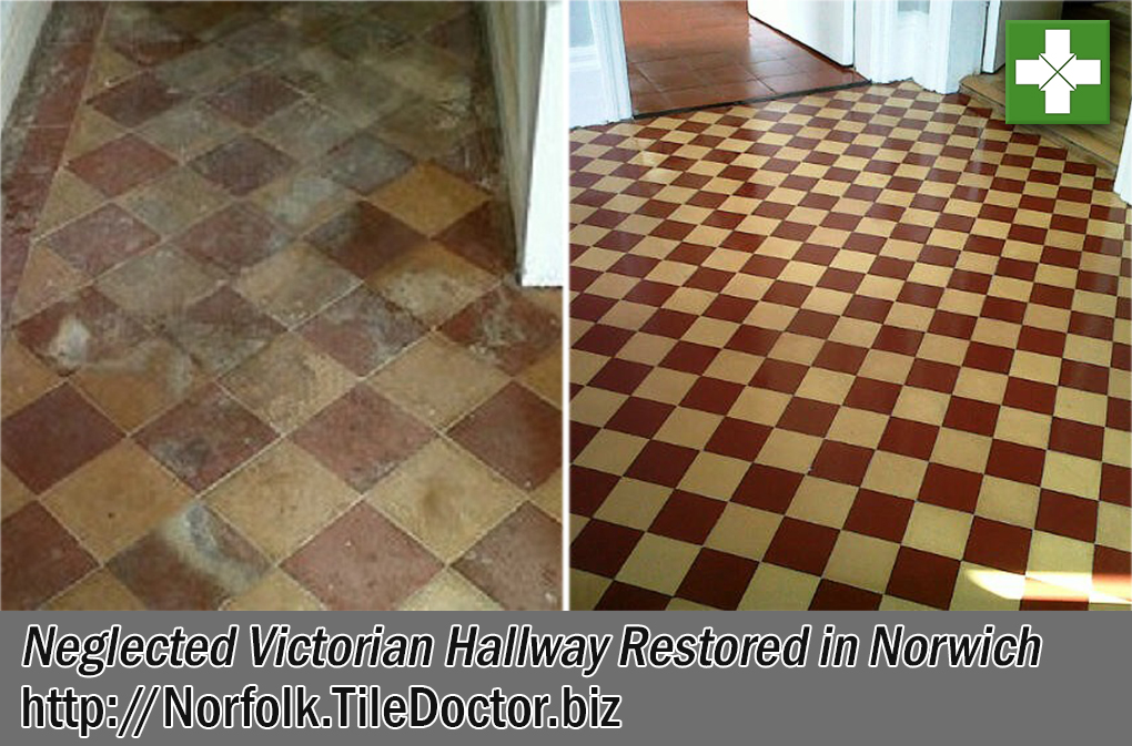 Victorian Tiled Floor Before and After Restoration Norwich
