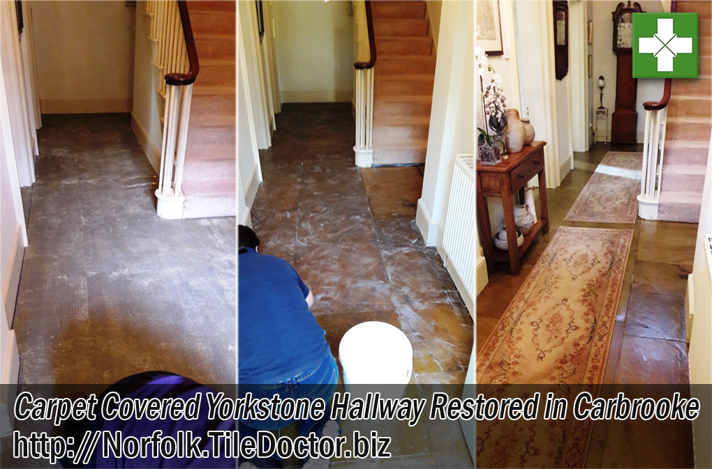 Sandstone Tiled Hallway Before and After Restoration Carbrooke