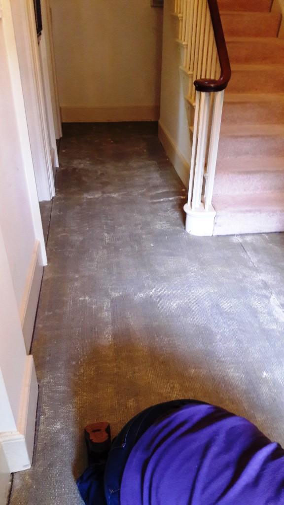 Yorkstone Hallway Restoration Carbrooke Carpet Removed Revealing Underlay