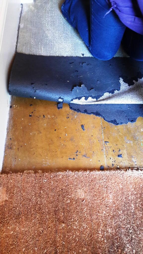 Yorkstone Hallway Restoration Carbrooke Underlay Peeled Back Revealing Glue