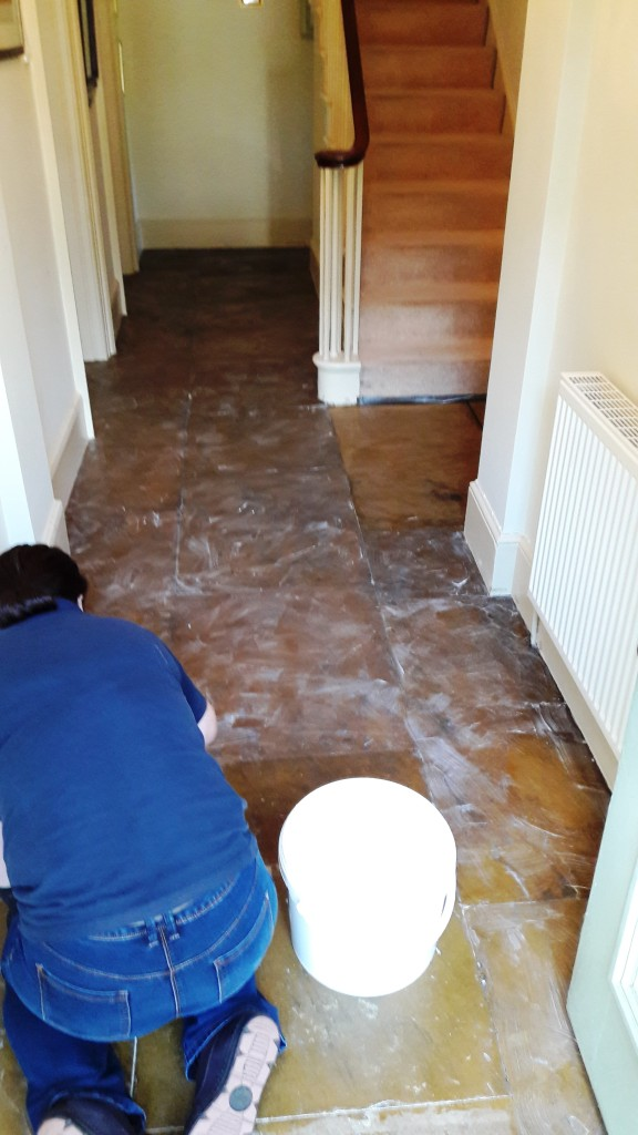 Yorkstone Hallway Restoration Carbrooke Applying Stripper