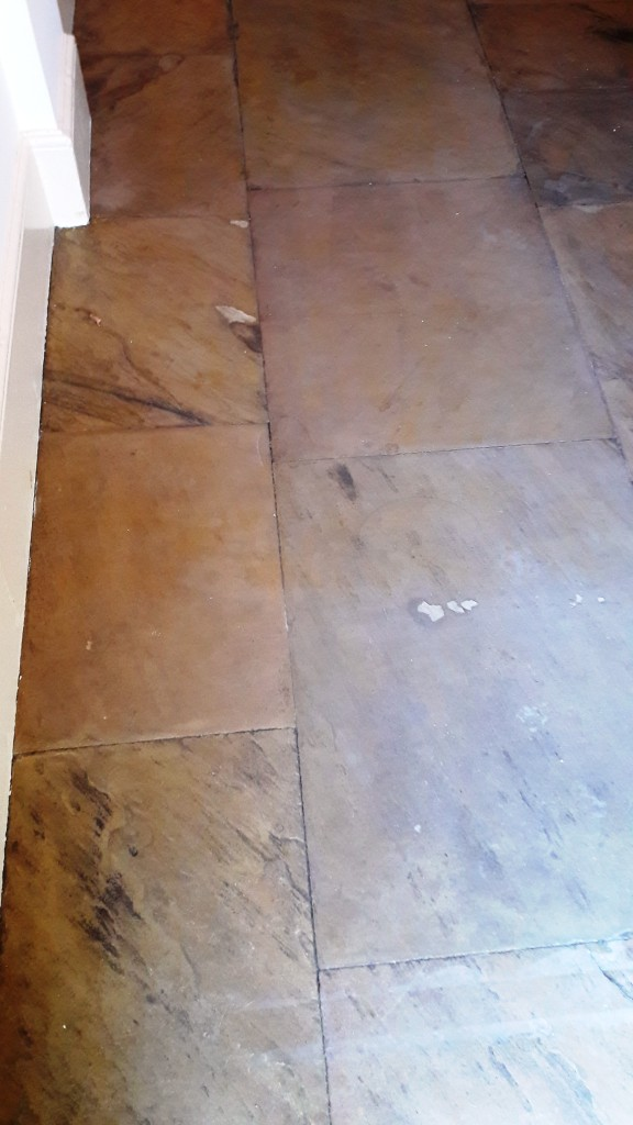 Yorkstone Hallway Restoration Carbrooke Stone Surface After Stripping