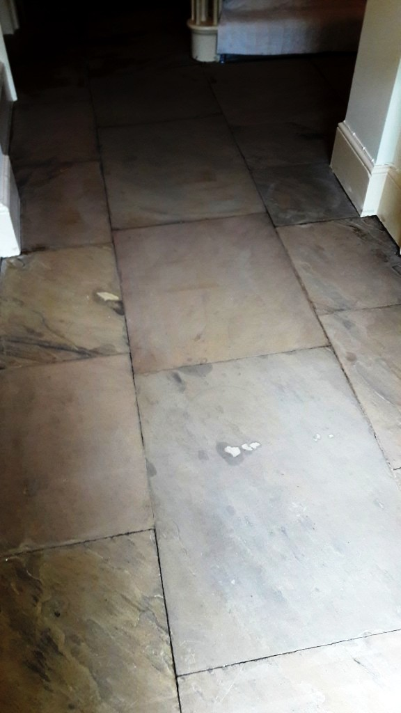 Yorkstone Hallway Restoration Carbrooke Stone Surface After Deep Cleaning