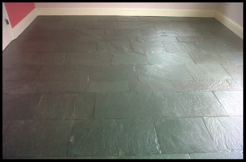 Slate Tiled Floor in Wreningham During Sealing