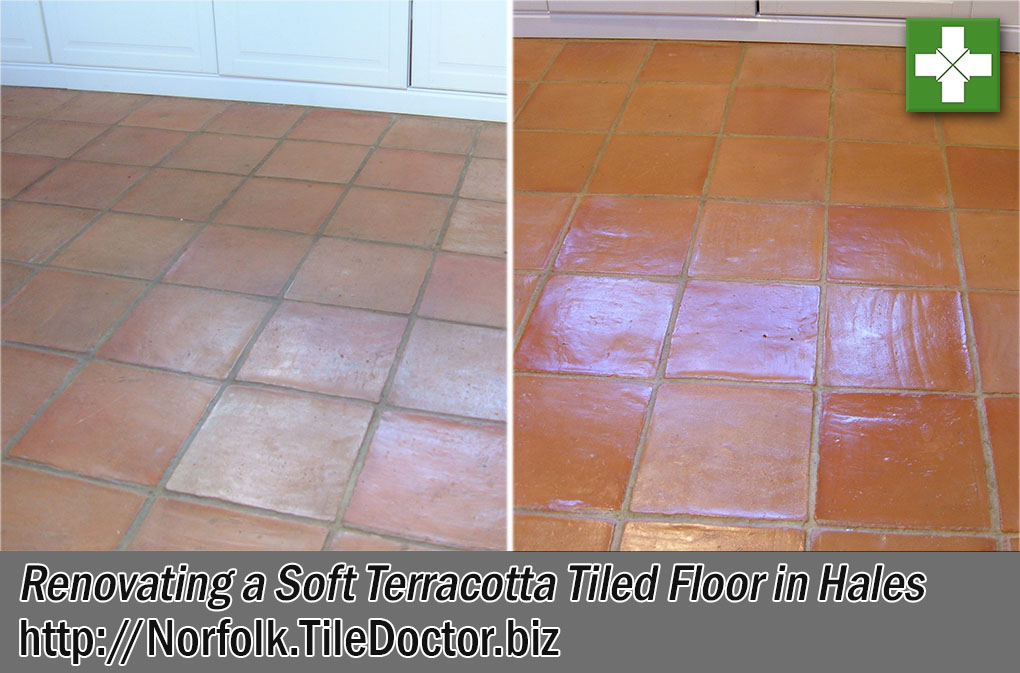 Soft Terracotta Tiled Floor Before and After Renovation Hales