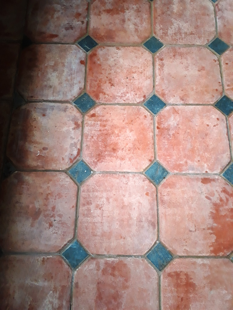Large Terracotta Tiled Floor Before Cleaning Docking