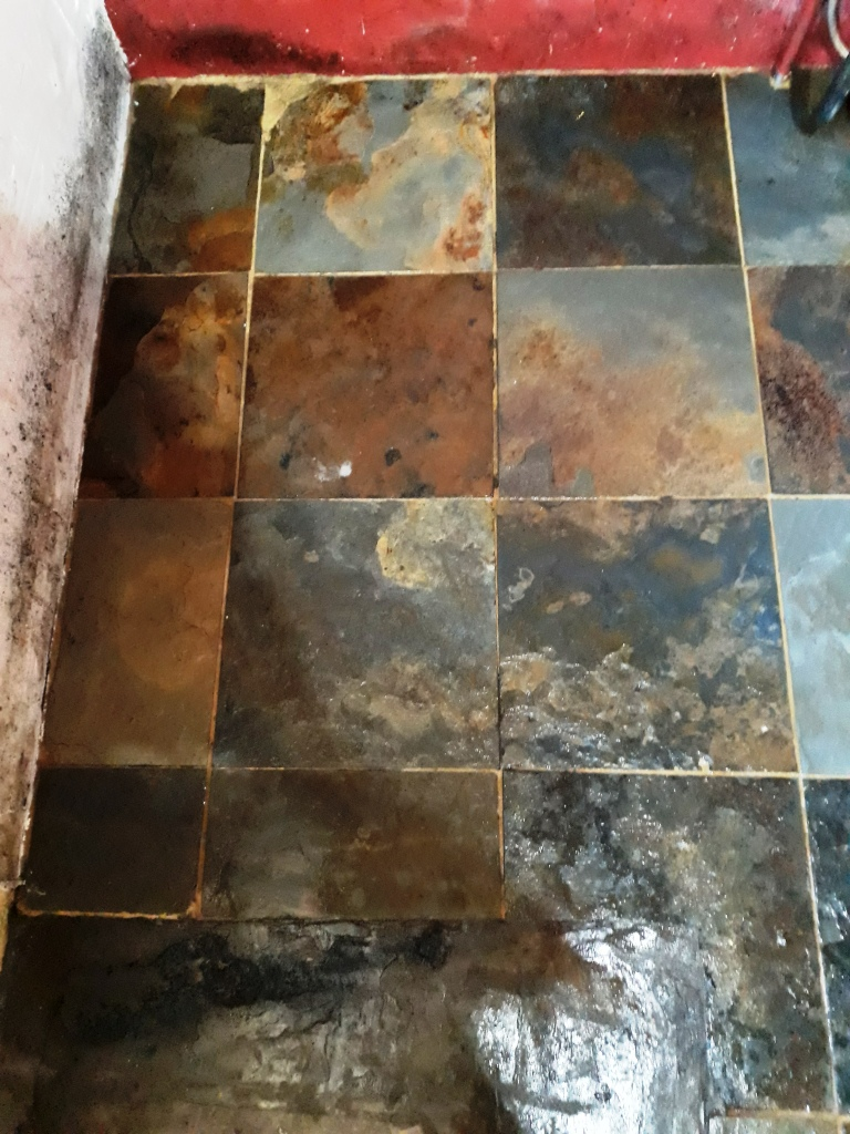Riven Chinese Slate Floor After Cleaning Shipdham