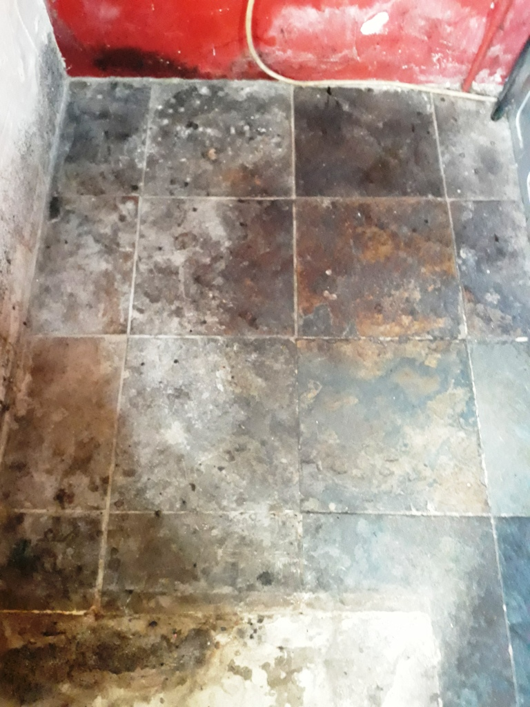 Riven Chinese Slate Floor Before Cleaning Shipdham