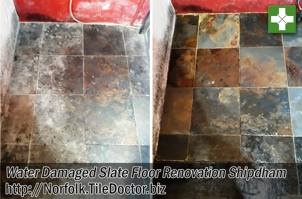 Riven Chinese Slate Kitchen Tiled Floor Before After Renovation Shipdham