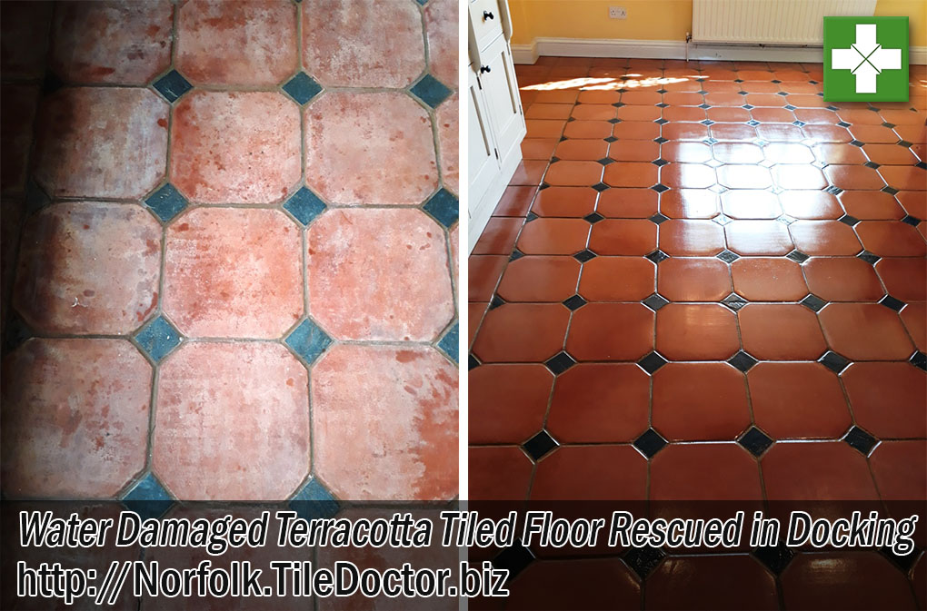 Terracotta Tiled Floor Before and After Renovation Docking