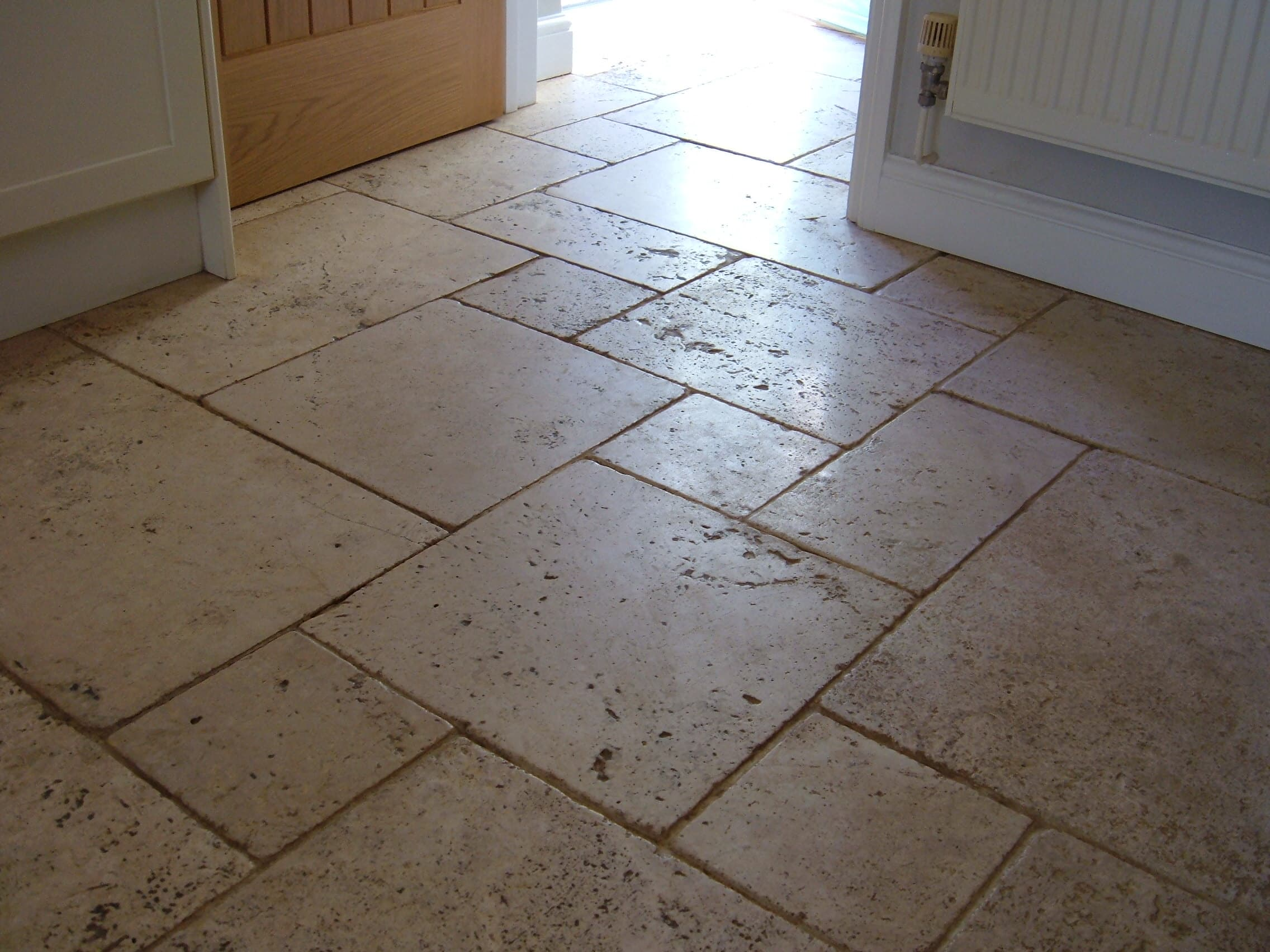 Travertine Floor in Attleborough Before Cleaning