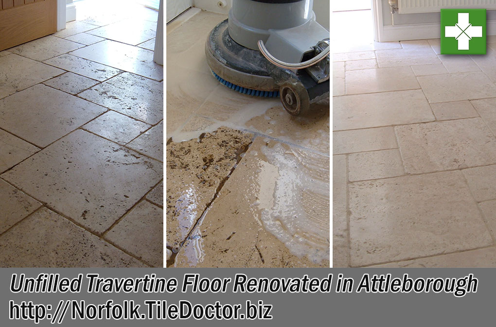 Unfilled Travertine Tiled Hallway Before and After Restoration Attleborough