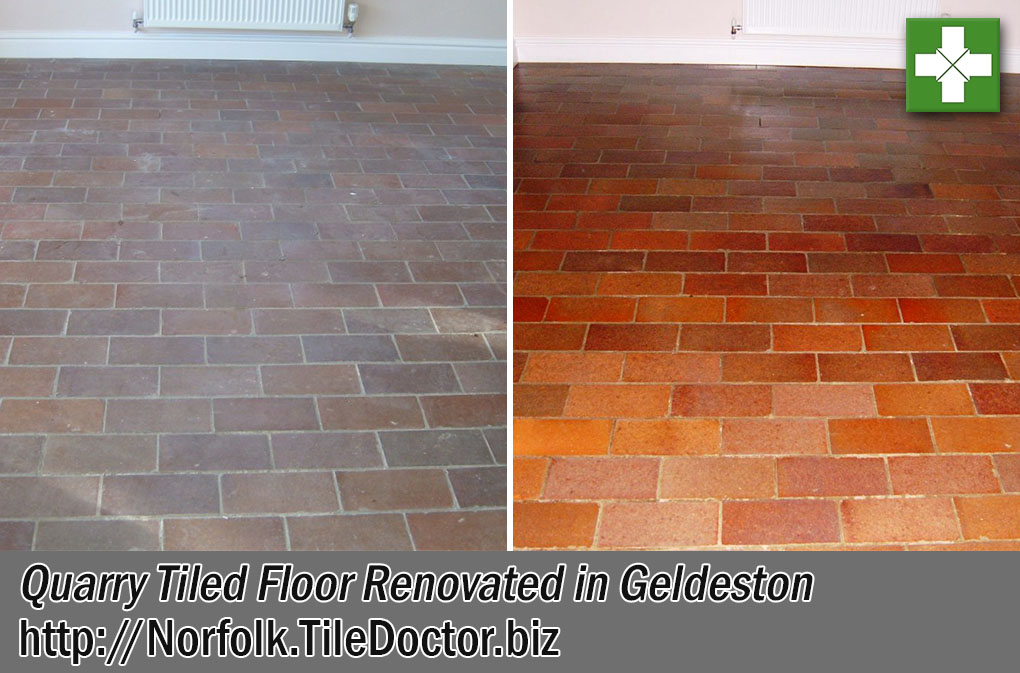 Quarry Tiled Floor Before and After Renovation Geldeston