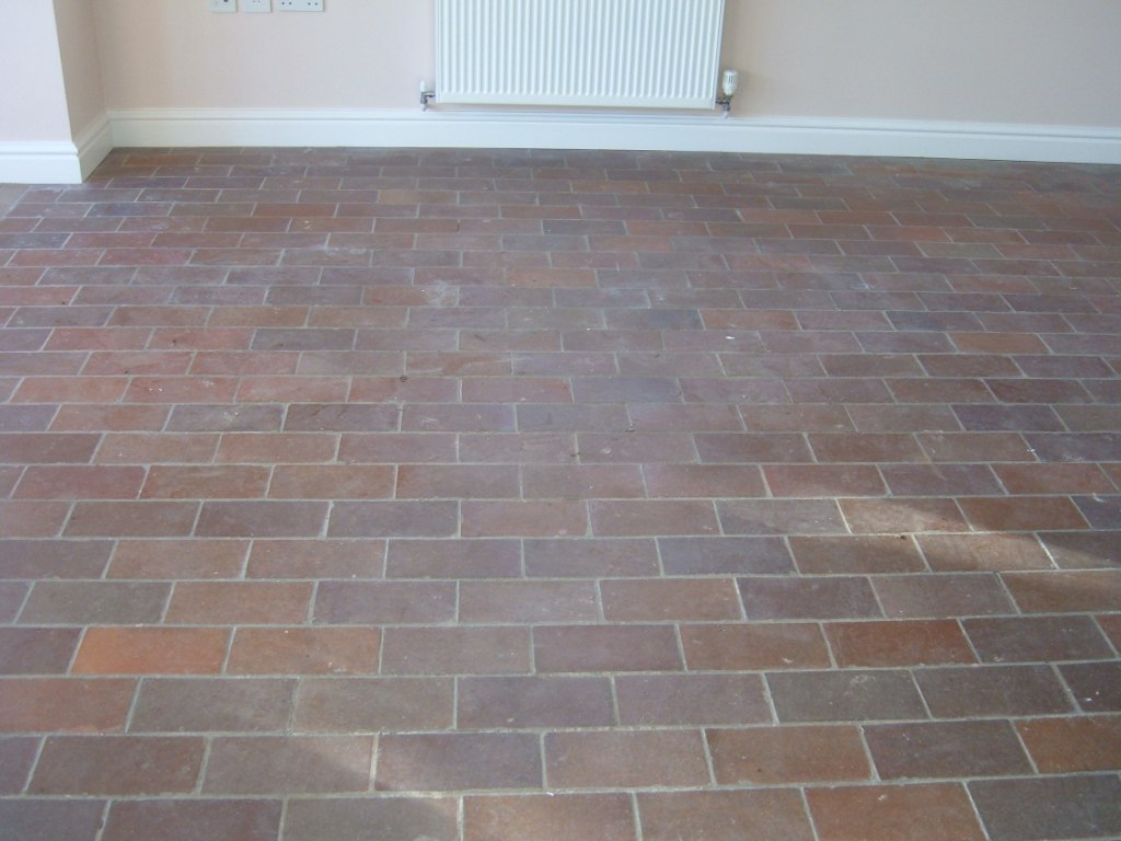 Quarry Tiled Floor Geldeston Before Cleaning
