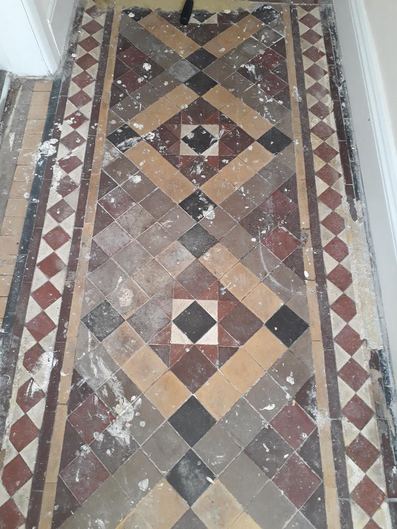 Victorian Tiled Hallway Before Cleaning Kings Lynn