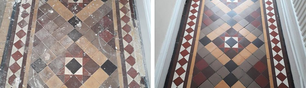 Carpet Covered Victorian Hallway Tiles Restored in Kings Lynn