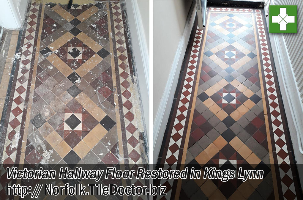 Victorian Tiled Hallway Floor Before After Restoration Kings Lynn