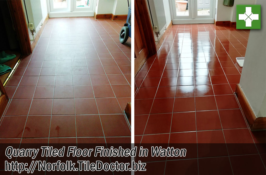 Quarry Tiled Floor Before After Grout Haze Removed Watton