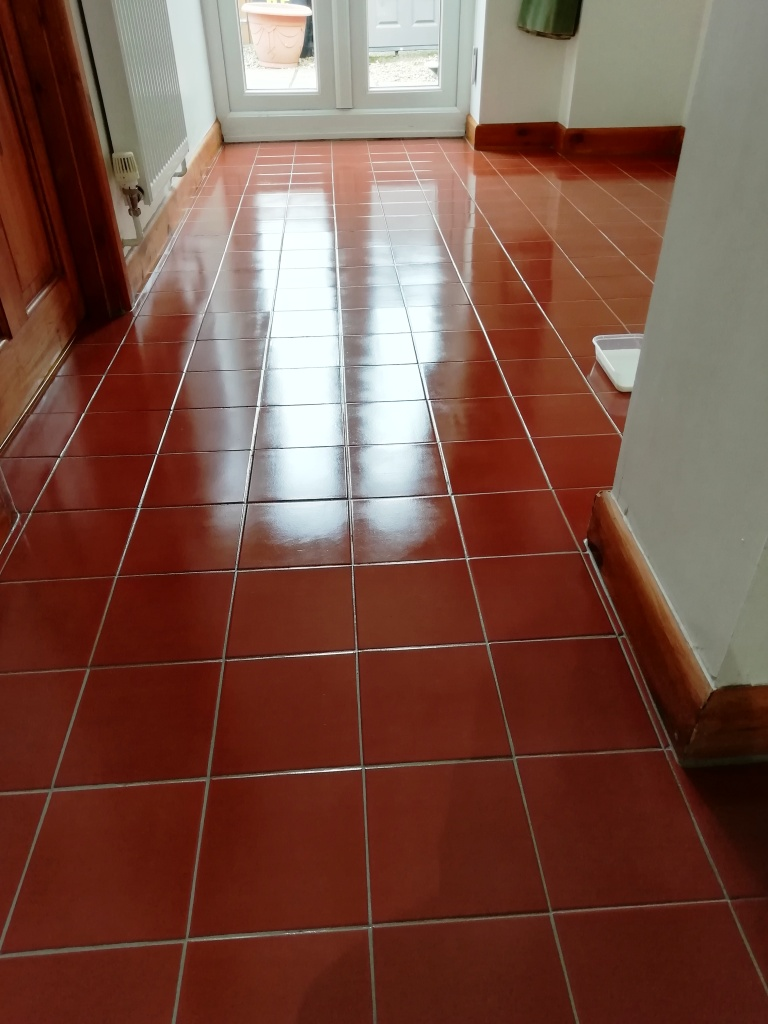 Quarry Tiled Hallway Floor After Renovation in Watton
