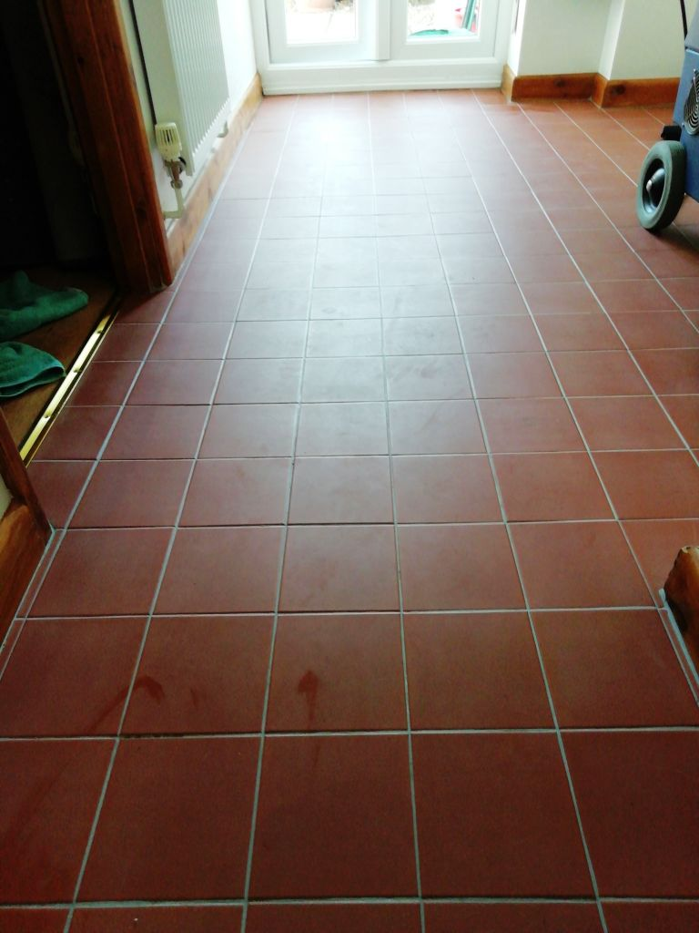 Quarry Tiled Hallway Floor Before Renovation in Watton