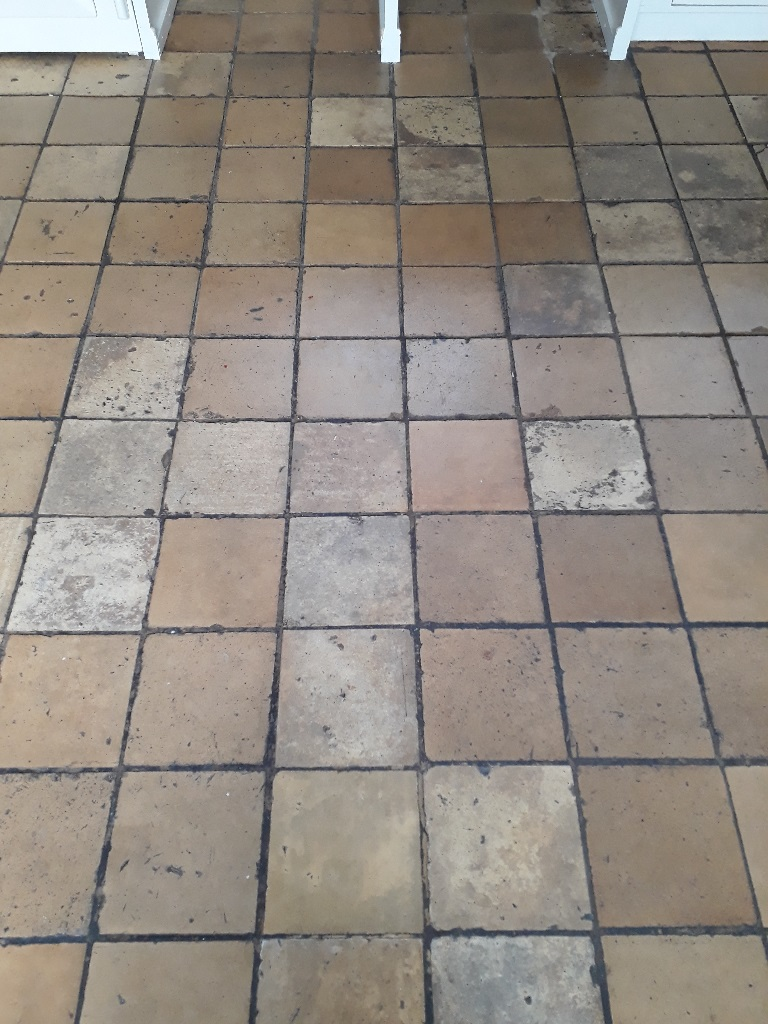 Yellow Clay Floor Tiles Before Cleaning Tacolneston