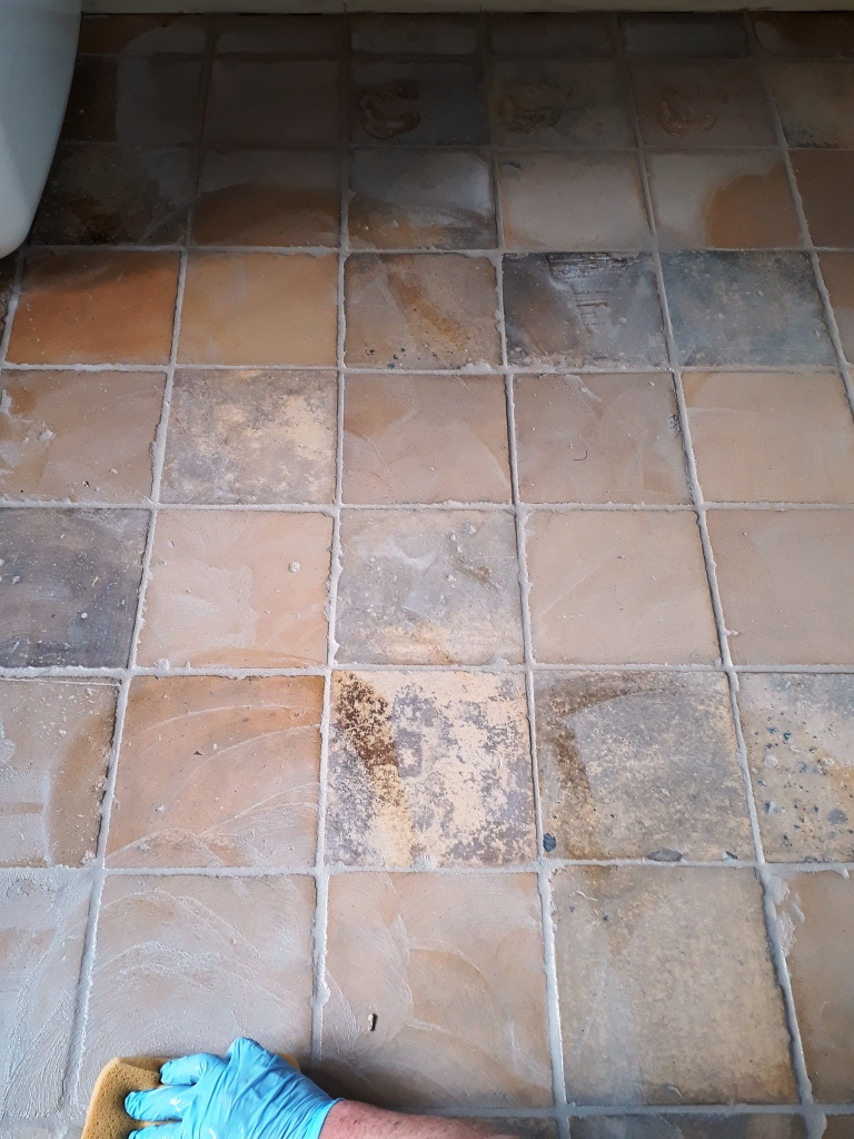 Yellow Clay Floor Tiles During Grout Haze Removal Tacolneston