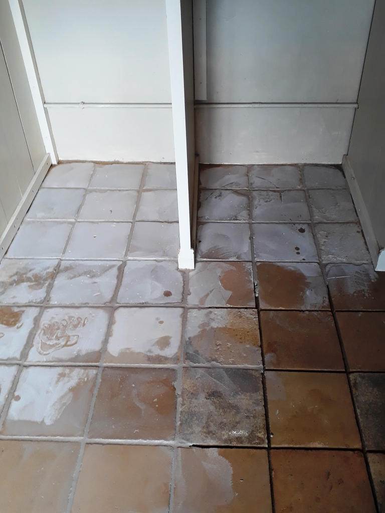 Yellow Clay Floor Tiles During Grouting Tacolneston