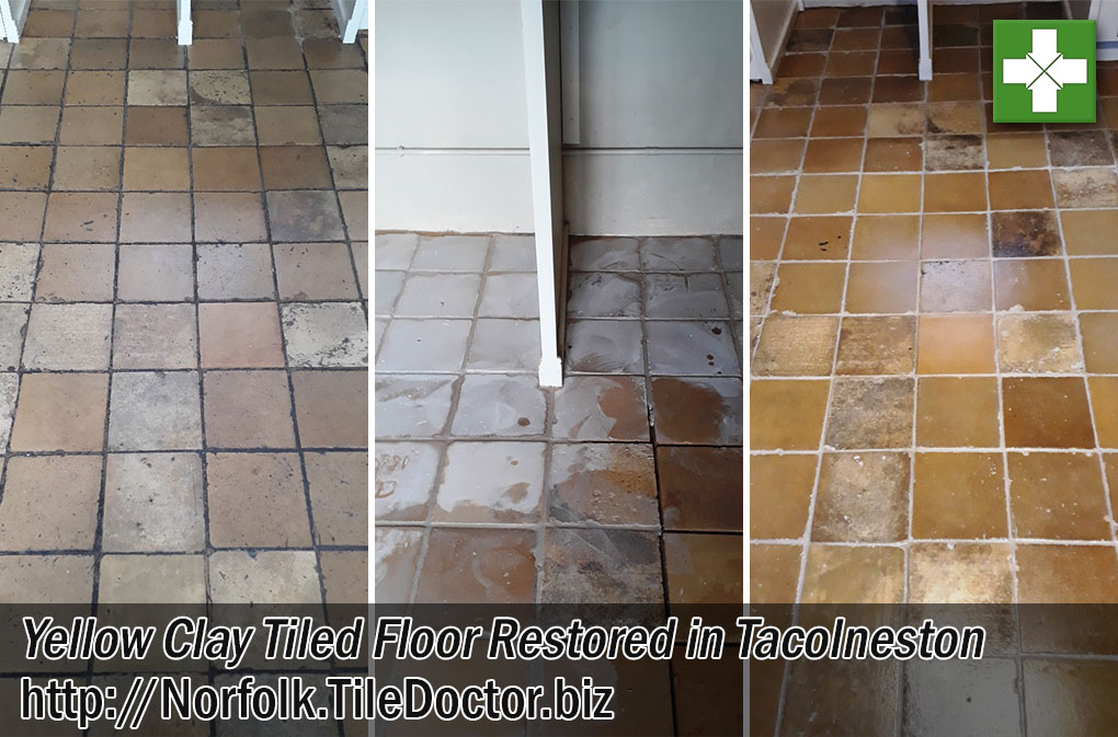 Yellow Clay Tiled Floor Before After Restoration Tacolneston