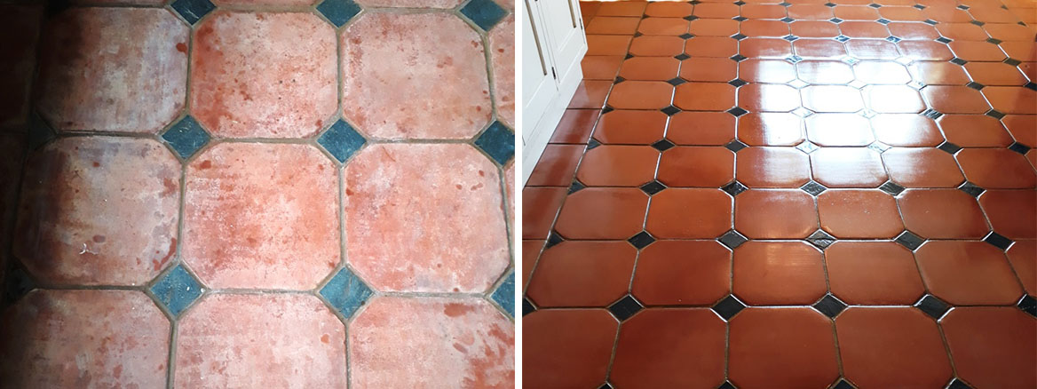 Large Terracotta Tiled Floor Before After Cleaning Docking