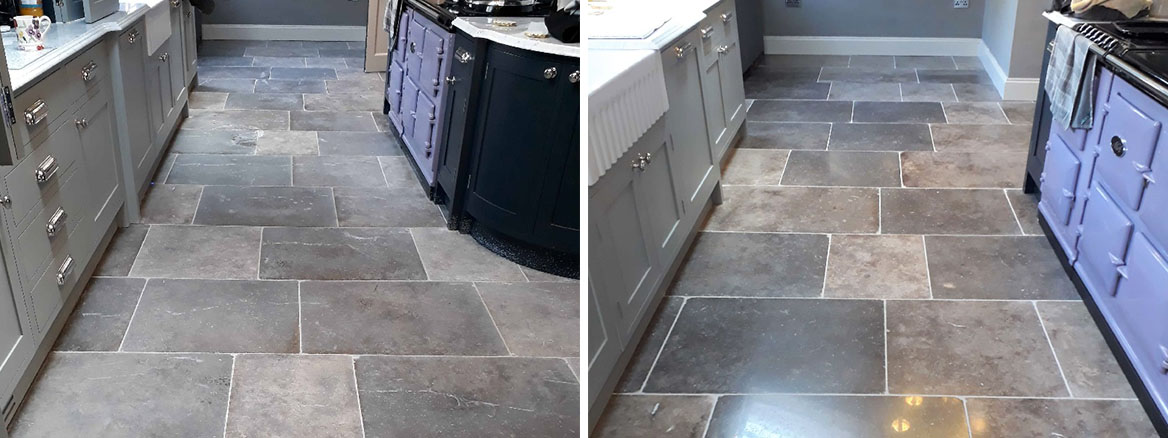 Limestone Tiled Floor Before After Renovation in Hindolveston