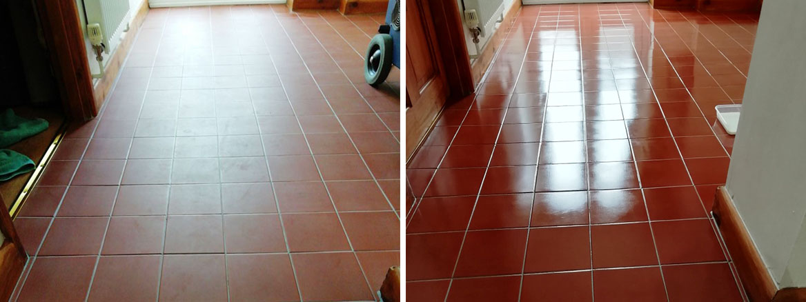 Quarry Tiled Hallway Floor Before After Renovation in Watton