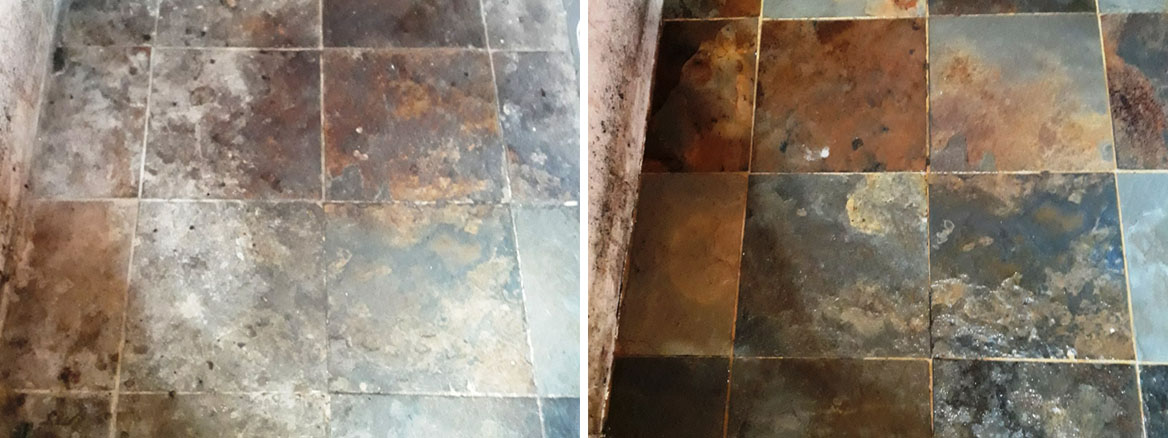 Riven Chinese Slate Floor Before After Cleaning Shipdham