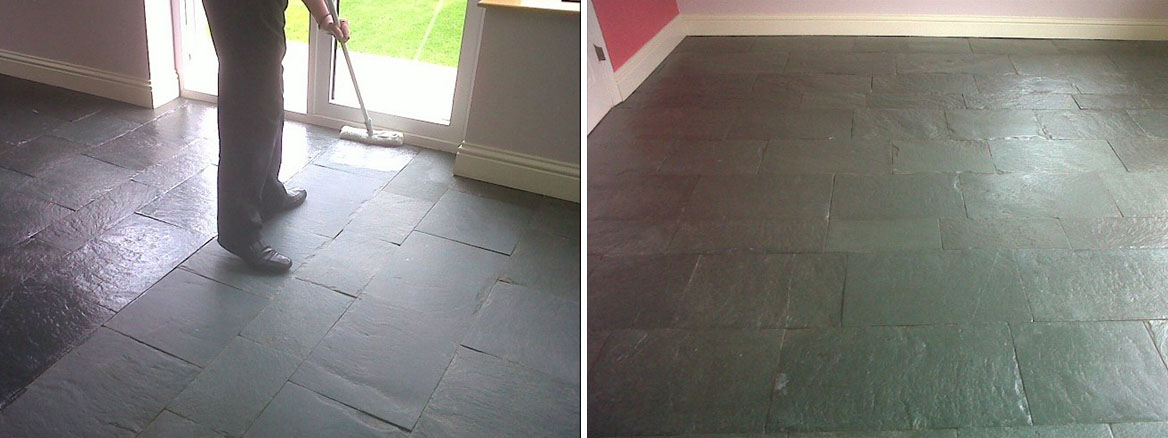 Slate Tiled Floor in Wreningham During and After Sealing