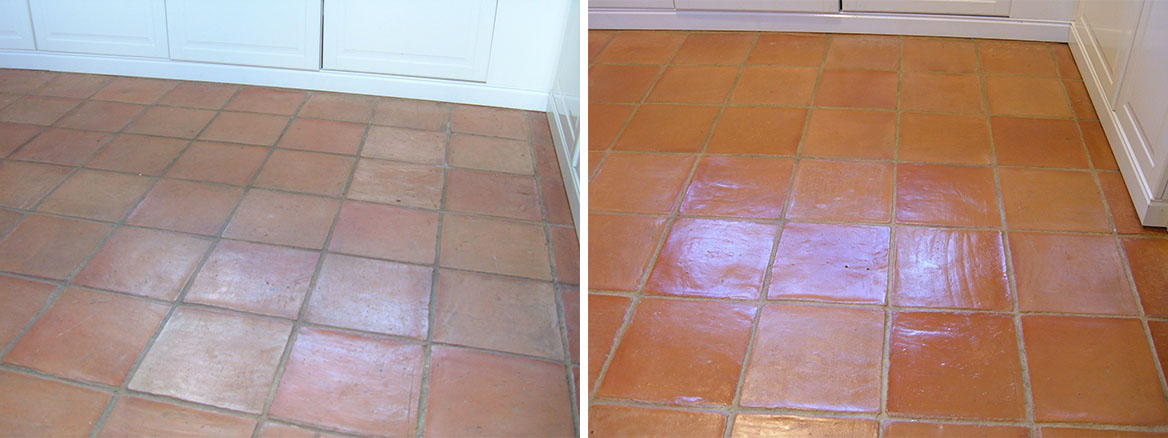 Terracotta Tiled Kitchen Floor Before After Cleaning Hales