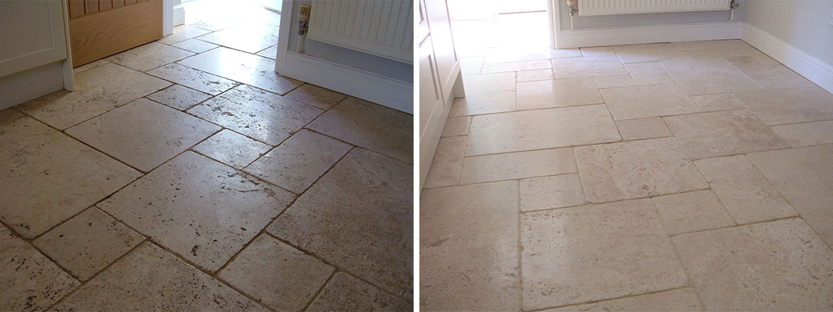 Restoring a Heavily Soiled Unfilled Travertine Floor in Attleborough