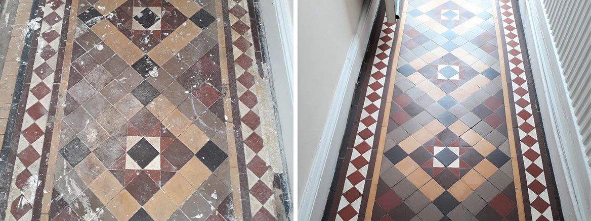 Victorian Tiled Hallway Before After Cleaning Kings Lynn