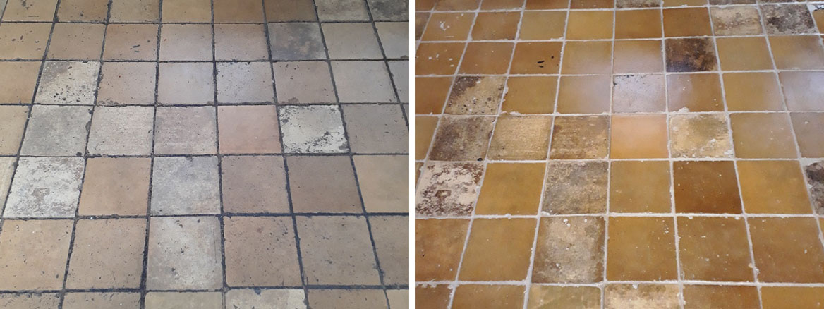 Yellow Clay Floor Tiles Cleaned Grouted Sealed Tacolneston