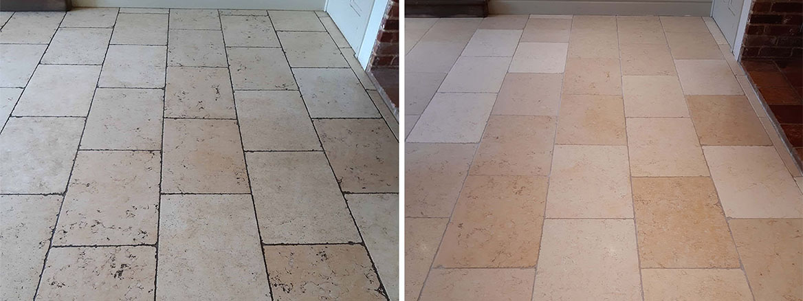 Dirty Limestone Floor Tile and Grout Restored in Silfield