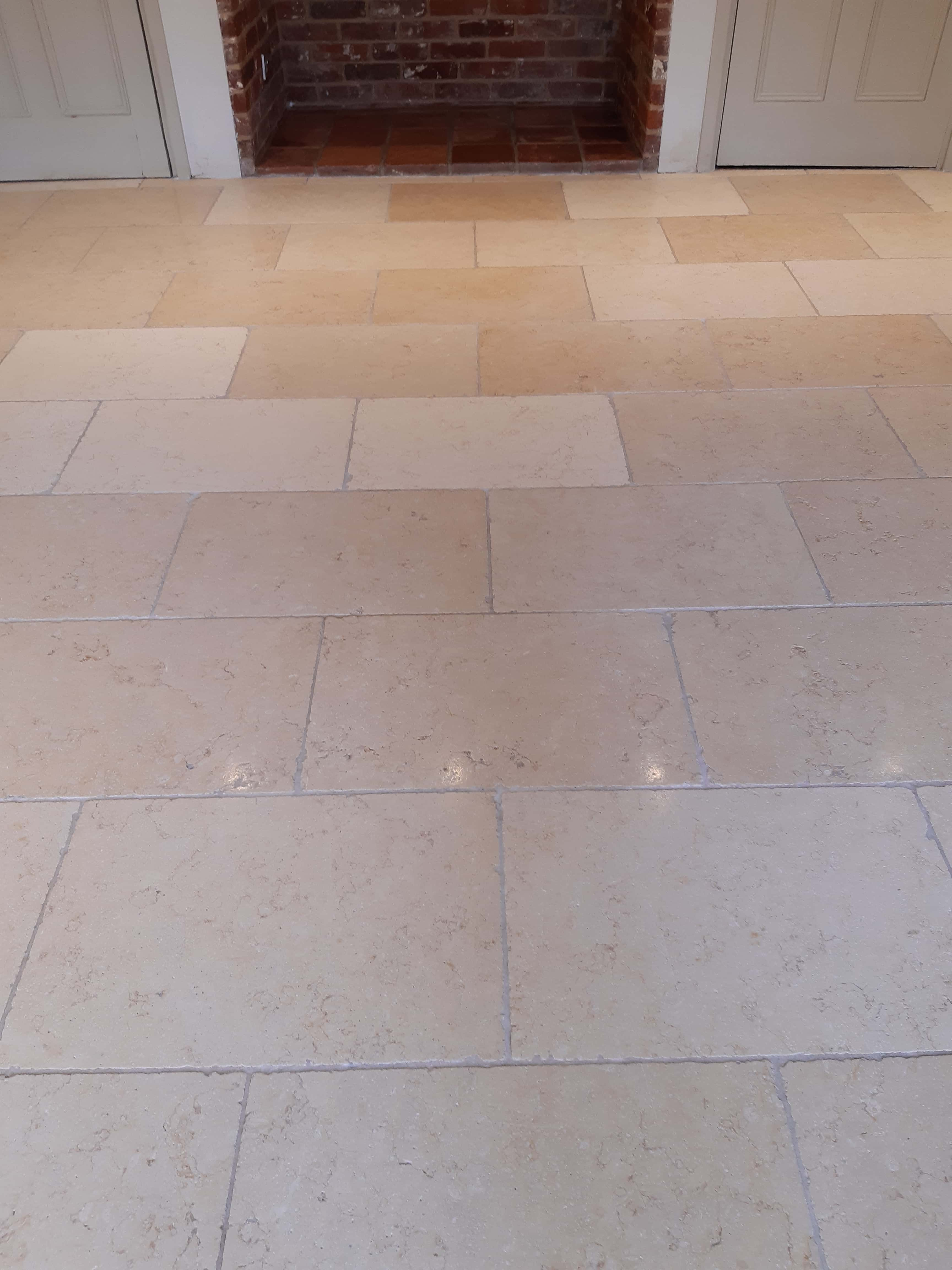 Limestone Flooring After Renovation in Silfield