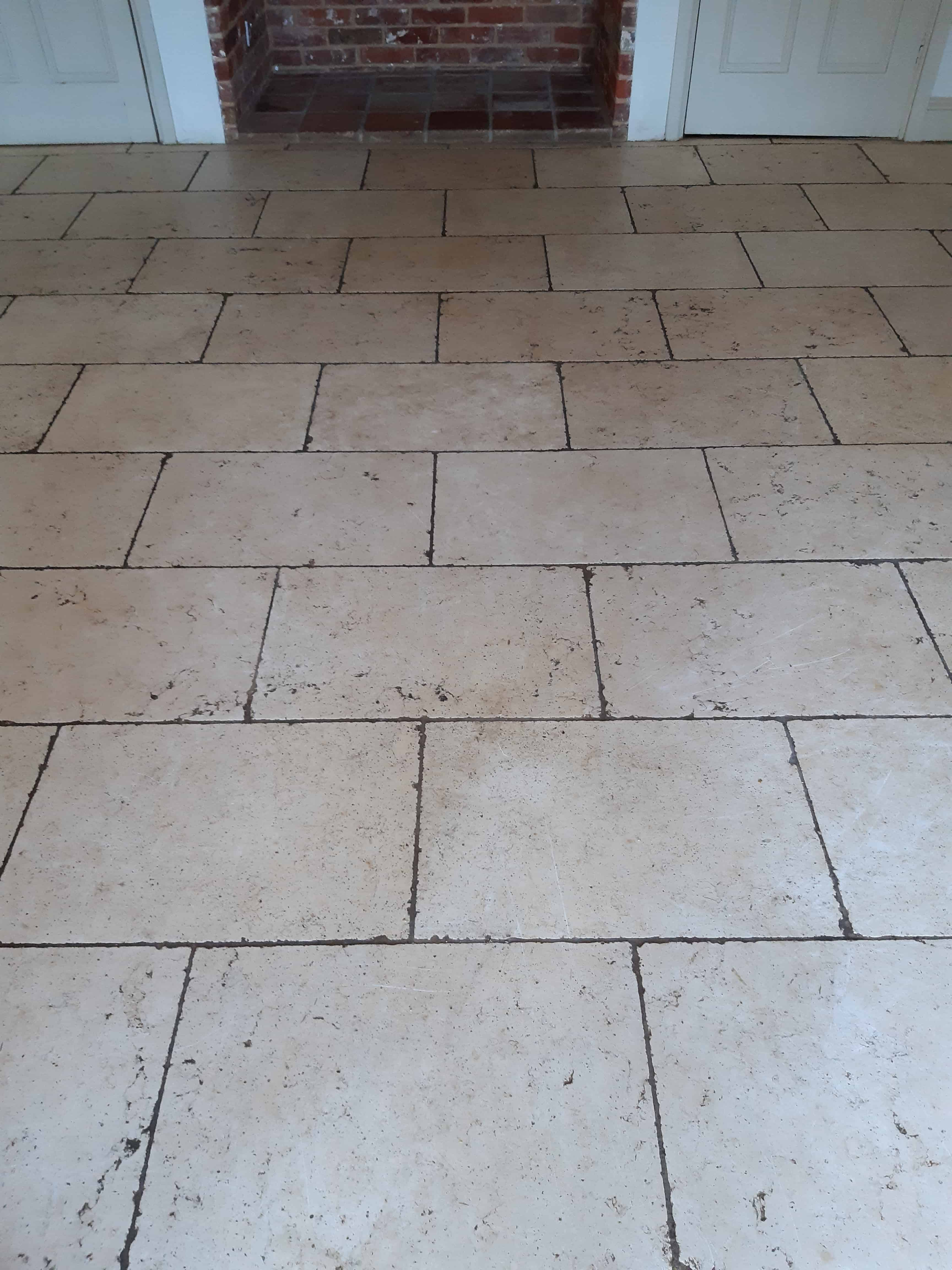 Limestone Flooring Before Renovation in Silfield