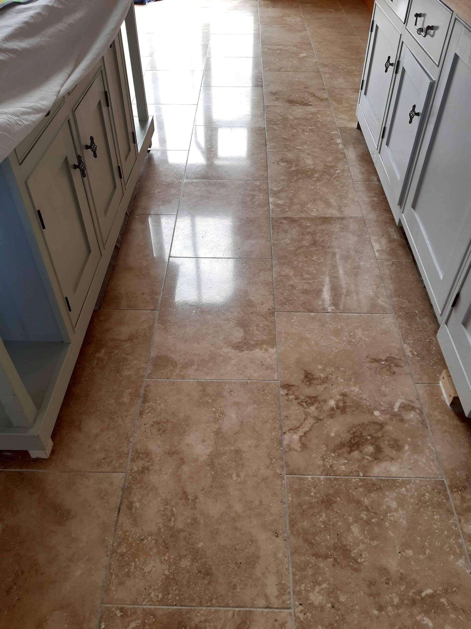 Travertine Kitchen Floor After Face Lift Burgh Castle