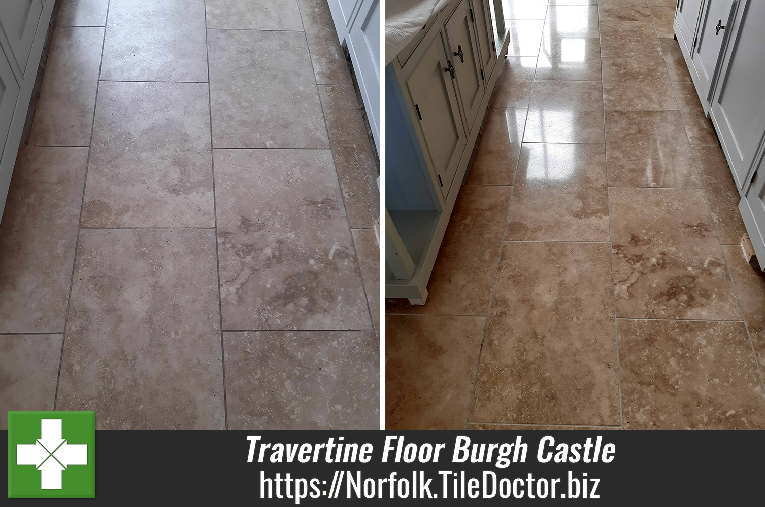 Giving a Travertine Kitchen Floor a Face Lift in Burgh Castle