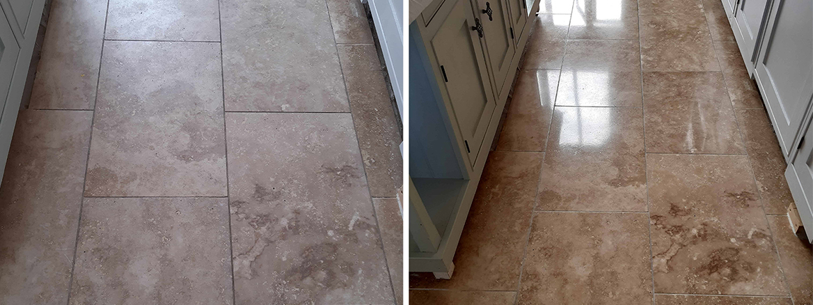 Travertine Tiled Floor Face Lift in Burgh Castle near Great Yarmouth